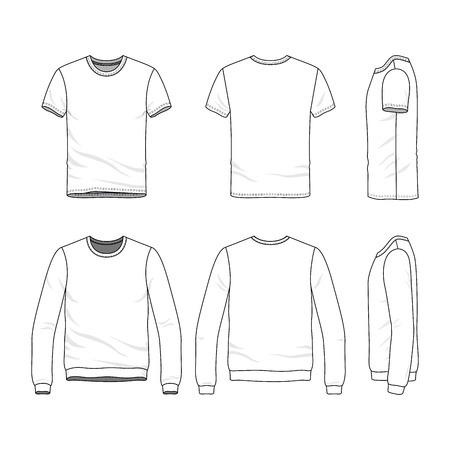 벡터 의류 템플릿입니다. 빈 티셔츠와 스웨터. 패션의 집합 스포츠입니다. 라인 아트 그림입니다. 스톡 콘텐츠