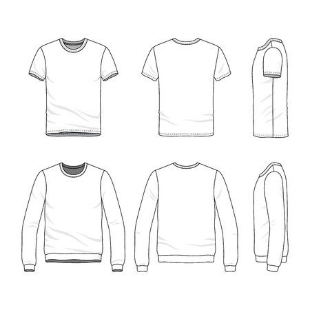 Vector clothing templates. Blank t-shirt and sweatshirt. Fashion set of sportswear. Line art illustration. Stock Photo