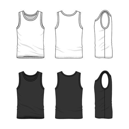 Male clothing set in white and black colors. Front, back and side views of blank undershirt. Vector templates in casual style. Fashion illustration.