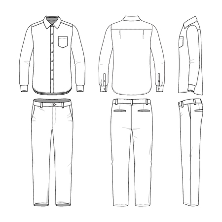 Front, back and side views of male shirt and pants. Blank clothing templates in casual style. Fashion vector illustration.