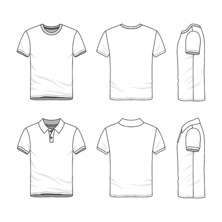Male clothing set. Blank vector templates of white t-shirt and polo shirt. Fashion illustration. Line art design.