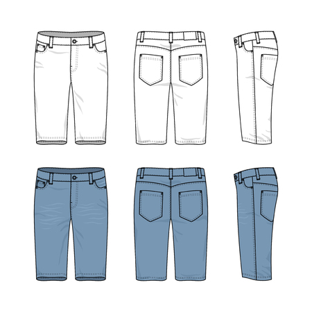 chinos: Blank vector templates of male jeans. Front, back and side views of denim shorts. Clothing set in casual style. Fashion illustration.