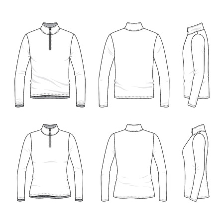 지퍼가 달린 긴 소매 티셔츠의 앞면, 뒷면, 측면도. 남성과 여성 의류 세트. 빈 벡터 템플릿입니다. 패션 일러스트 레이 션. 흰색 배경에 고립. 스톡 콘텐츠