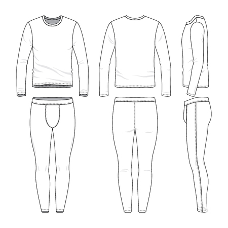 Front, back and side views of lon sleeved shirt and training tights. Blank vector templates. Clothing set. Sportswear. Fashion illustration. Isolated on white background.
