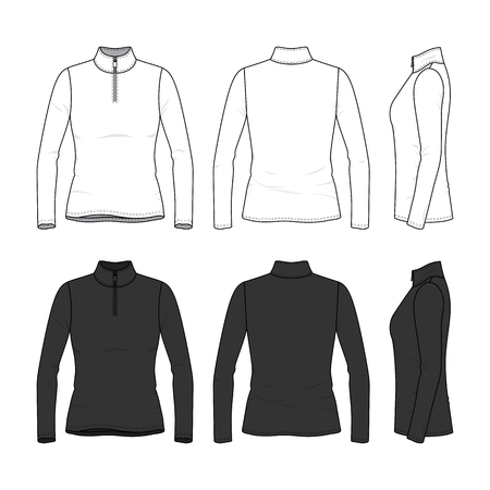 Front, back and side views of long sleeved t-shirt with zipper. Female clothing set in white and black colors. Blank vector templates. Fashion illustration. Isolated on white background.