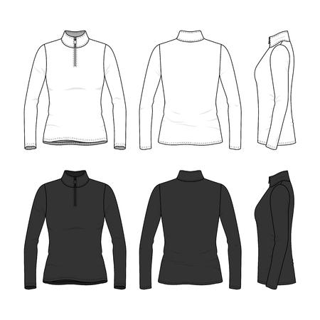 Voor-, achter- en zijaanzicht van T-shirt met lange mouwen en ritssluiting. Vrouwelijke kleding in witte en zwarte kleuren. Lege vectorsjablonen. Mode illustratie. Geïsoleerd op witte achtergrond