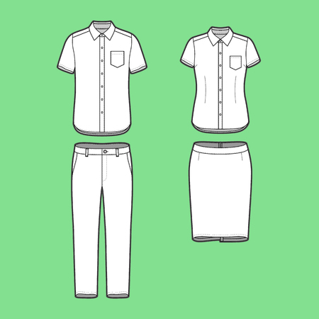suit skirt: Blank Mens and Womens clothing set in white colors. Blank template of short sleeve shirts, pants and skirt in front view. Casual style. Workwear suits. Vector illustration for your fashion design.