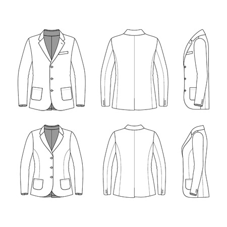 Blank Mens and Womens clothing set in white colors. Blank templates of classic blazer in front, back and side views. Casual style. Vector illustration for your fashion design. Isolated on white.