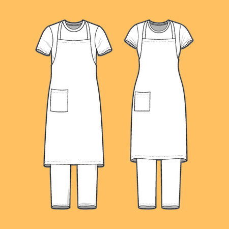 Front view of mens and womens clothing set. Blank templates of t-shirt, pants and apron.  Casual style. Vector illustration on the yellow background for your fashion design.