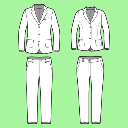 blank mens and womens clothing set in white colors blank template of classic blazers and