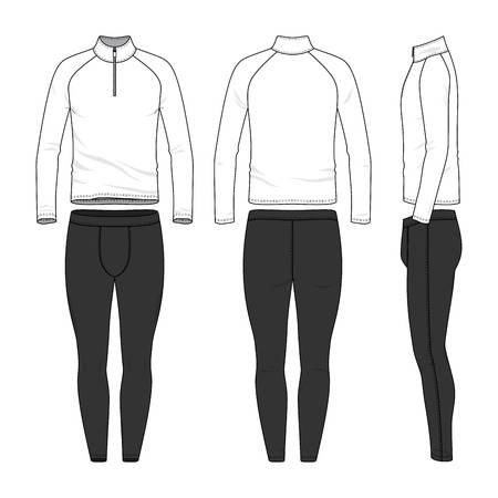Vector templates of clothing set. Front, back, side views of blank shirt, jogging pants. Shirt with zipper and raglan sleeves. Sportswear, uniform clothes. Fashion illustration. Banco de Imagens