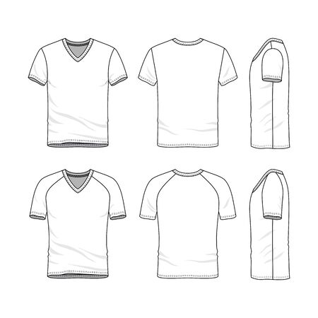 undergarments: Vector templates of clothing set. Front, back, side views of blank v-neck t-shirt. Sportswear, uniform clothes. Fashion illustration. Line art design.
