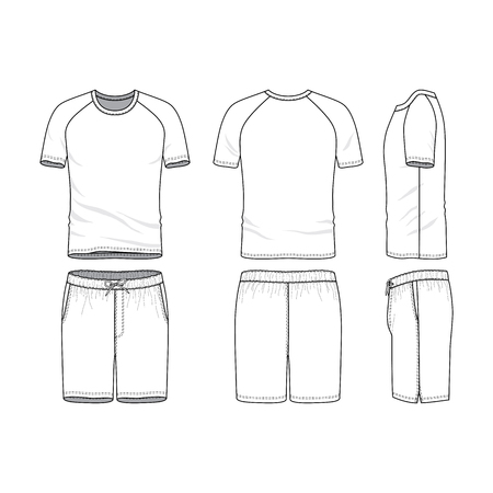 A Vector templates of clothing set. Front, back, side views of blank t-shirt with raglan sleeves and shorts. Sportswear, uniform clothes. Fashion illustration. Line art design.