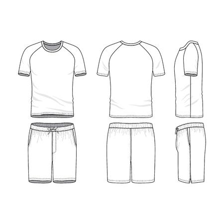 A Vector sjablonen van kleding set. Voor-, achter-, zijaanzicht van blanco t-shirt met raglanmouwen en shorts. Sportkleding, uniforme kleding. Mode illustratie. Ontwerp met lijntekeningen. Stockfoto - 80568604