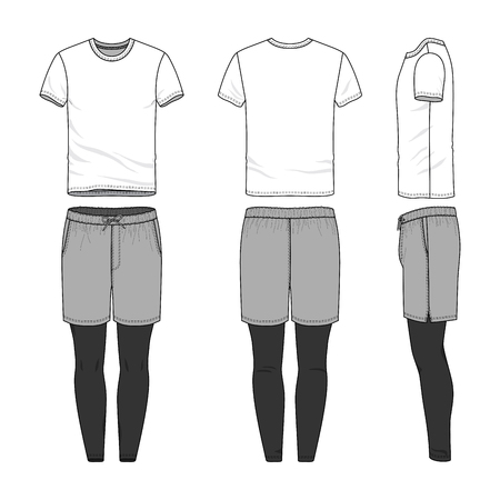 A Vector templates of clothing set. Front, back, side views of blank t-shirt, sports shorts, jogging pants. Shirt with raglan sleeves. Sportswear, uniform clothes. Fashion illustration.