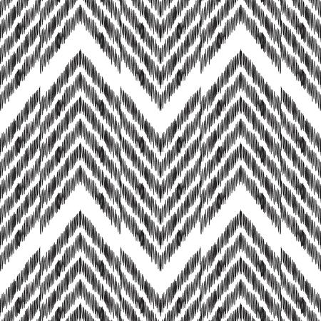 抽象的なヘリンボーンの背景。ファッションテキスタイル、壁紙、カードや包装紙のための黒と白のIkatシームレスなパターン。 写真素材 - 93128719