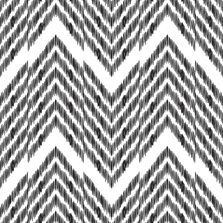 Abstract herringbone background. Black and white Ikat seamless pattern for fashion textile, wallpaper, card or wrapping paper.