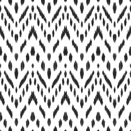 Ikat seamless pattern. Vector background. Black and white chevron design for fashion textile prints, wallpapers, cards or wrapping papers.