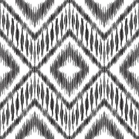イカットシームレスパターン。ベクトルの背景。ファッションテキスタイルプリント、壁紙、カードや包装紙のための黒と白のデザイン。 写真素材 - 94133801