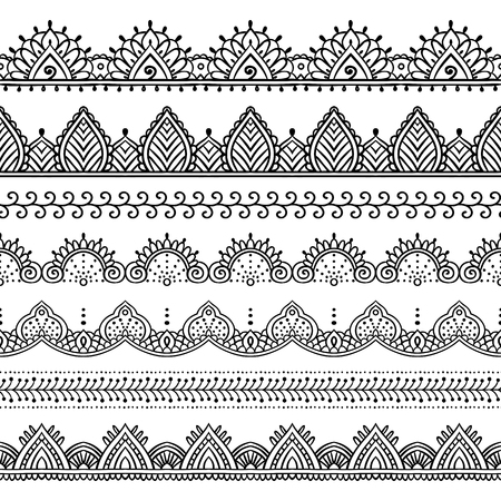 Seamless lace borders set. Design elements can be used for application of Henna tattoo, washi tapes, wrapping paper. Ethnic pattern in Mehndi, Indian, oriental style. Hand drawn doodle illustration.