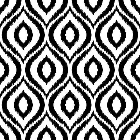 Ikat ogee seamless pattern. Can be used for textile, wallpaper, wrapping paper, greeting card background, phone case print. Black and white graphic vector design. Abstract ornament in ethnic style. Çizim