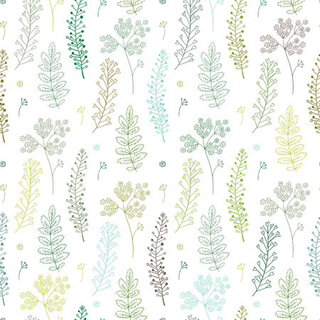 Seamless pattern with green herbal elements. Vector illustration. Endless texture for season spring and summer design. Can be used for wallpaper, textile, gift wrap, greeting card background.
