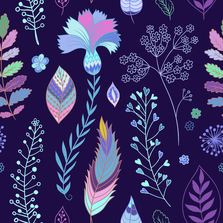 Seamless vector floral pattern. Spring and summer colorful flowers, herbs on the dark blue background. Can be used for wallpaper, textile, gift wrap, greeting card, surface textures.