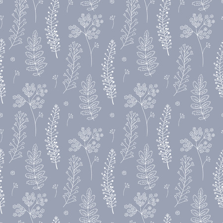 Botany seamless pattern with herbs. Vector illustration. Can be used for wallpaper, textile, gift wrap, greeting card background.