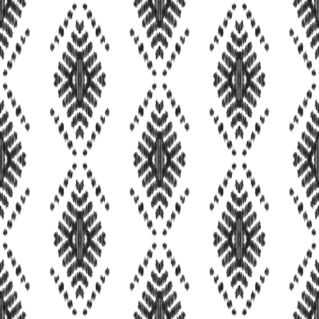 Ethnic seamless pattern. Boho ikat ornament. Can be used for textile, wallpaper, wrapping paper, greeting card background, phone case print. Black and white vector illustration. Tribal graphic design.
