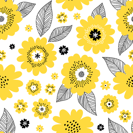 Seamless repeat pattern with yellow flowers and black leaves on white background. Endless texture for season spring, summer design. Floral print used for wallpaper, textile, gift wrap, greeting card.