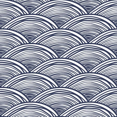 Abstract waves background. Black and white seamless pattern. Vector illustration of fish scale in japanese style.