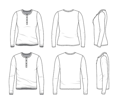 Blank clothing templates of male and female long sleeved button tee in front, side, back views. Vector illustration isolated on white background.