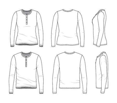 Leere Kleidungsvorlagen von männlichen und weiblichen langärmeligen T-Shirts in Vorder-, Seiten- und Rückansicht Vektorillustration lokalisiert auf weißem Hintergrund.