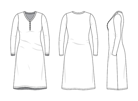 Blank clothing templates of female night dress in front, side, back views. Vector illustration isolated on white background.