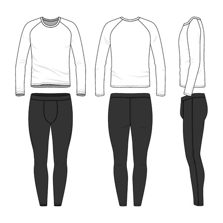 Male sports clothing set. Blank template of raglan sleeves tee and joggers pants in front, back and side views. Casual style. Vector illustration for your fashion design. Isolated on white background. Vektoros illusztráció
