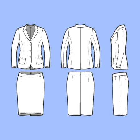 Female clothing set. Blank template of classic blazer and pencil skirt in front, back and side views. Casual style. Workwear suit. Vector illustration for your fashion design. Çizim