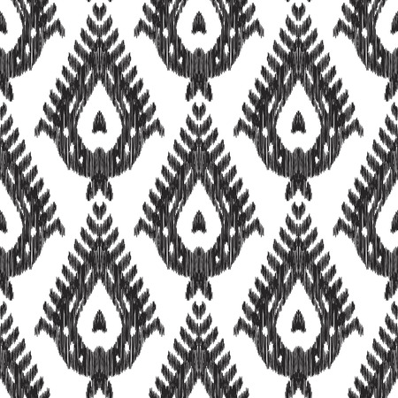 Ethnic seamless pattern. Chic boho ikat ornament. Tribal ottoman style. Can be used for textile, wallpaper, wrapping paper, greeting card background, phone case print. Black white vector illustration.