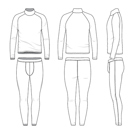 Male sports clothing set. Blank template of raglan sleeves tee and joggers pants in front, back and side views. Casual style. Vector illustration for your fashion design. Isolated on white background.  イラスト・ベクター素材