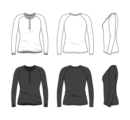 Blank clothing templates of women long sleeve button tee, raglan shirt in front, side, back views. Vector illustration isolated on white background. Technical fashion drawing set.