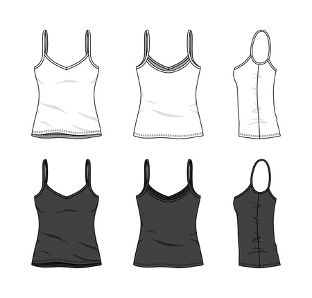 Blank clothing templates of women strapless top, camisole in front, side, back views. Vector illustration isolated on white background. Technical fashion drawing set. Stock Photo