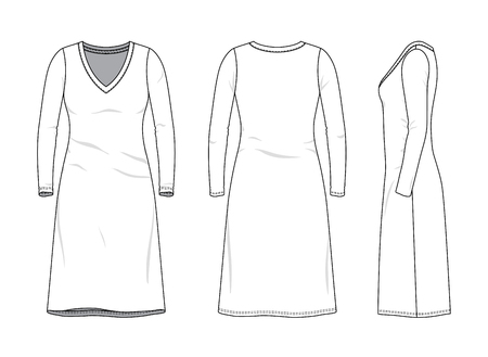 Blank clothing templates of women long sleeve v-neck nightwear dress in front, side, back views. Vector illustration isolated on white background. Technical fashion drawing set.