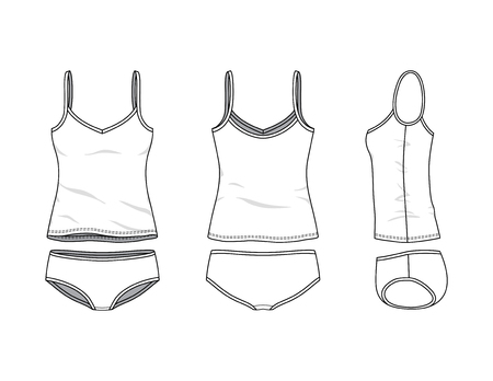 Blank clothing templates of women camisole and slip set in front, side, back views. Vector illustration isolated on white background. Technical fashion drawing set. Stock Photo