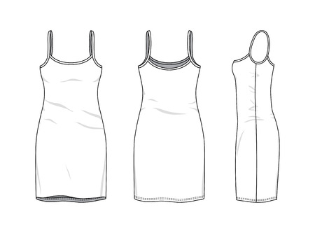 Blank clothing templates of women strapless slim dress in front, side, back views. Vector illustration isolated on white background. Technical fashion drawing set. Stock Photo