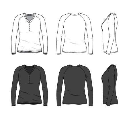 Blank clothing templates of raglan long sleeved button tee in front, side, back views. Vector illustration isolated on white background. Technical fashion drawing set.