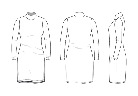 Blank clothing templates of women rollneck long dress in front, side, back views. Vector illustration isolated on white background. Technical fashion drawing set.