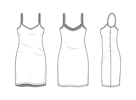 Blank clothing templates of women strapless dress in front, side, back views. Vector illustration isolated on white background. Technical fashion drawing set. Stock Photo