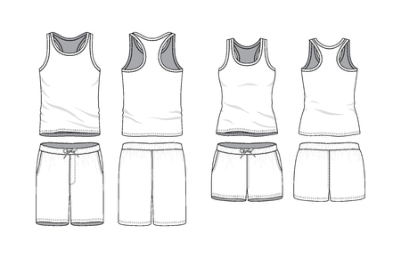 Blank male and female tank top and swimming shorts in front, back views. Clothing templates. Fashion set. Casual, sport style. Active wear. Vector illustration. Isolated on white. Illustration