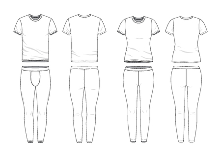 Blank male and female round neck raglan tee and jogging pants in front, back views. Clothing templates. Fashion set. Casual, sport style. Active wear. Vector illustration. Isolated on white. Illustration