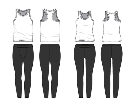 Blank male and female tank top and jogging pants in front, back views. Clothing templates. Fashion set. Casual, sport style. Active wear. Vector illustration. Isolated on white.