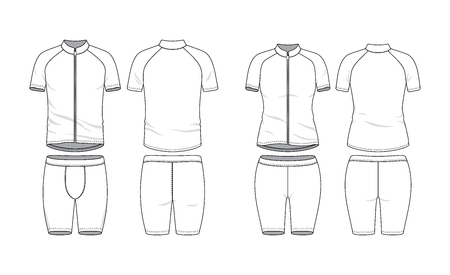 Blank clothing templates. Zipper raglan sleeves shirt and training short in front, back views. Sport wear, bycicle cloth. Vector illustration. Male and female clothes set. Isolated on white. Ilustração